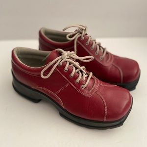 Steve Madden Red Chunky Gaby Lace Up Shoes 10